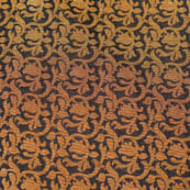Black and Golden kalamkari flower brocade silk fabric-4692