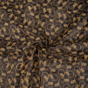 Black and Golden leaf Design Paper Silk Embroidery Fabric-60603