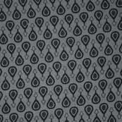 Black and Gray Sanganeri Motif Block Print Cotton Fabric
