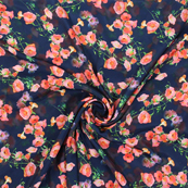 Black and Peach Flower Silk Crepe Fabric-18129