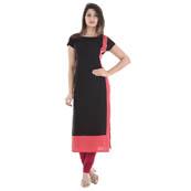 Black and Pink Cap Sleeve A Line Rayon Kurti-3003