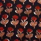 Black and Red Flower Pattern Kalamkari Indian Cotton Fabric by the yard