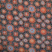 Black and Red Unique Shapes Hand Ajrakh Print Cotton Fabric