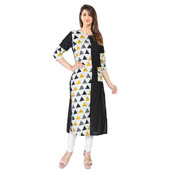 Black and White 3/4 Sleeve Half Printed and Solid Rayon Kurti-3113
