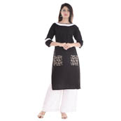 Black and White  3/4  Sleeve Lace Work Cotton Kurti-3043