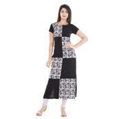 Black and White Cap Sleeve Appilque Work Rayon and Cotton Kurti-3073
