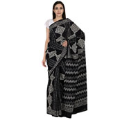 Black and White Cotton Block Print Saree-20063