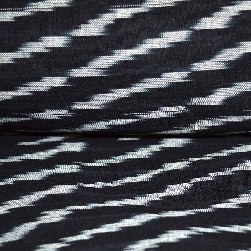 Black and White Ikat Print Fabric by the Yard