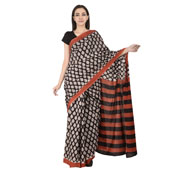 Black and White Leaf Pattern Cotton Block Print Saree-20102