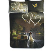 Black and White  Print Cotton Double Bed Sheet -0HH62