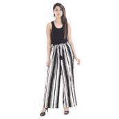 Black and White Rayon Free Size Stripes Palazzo-3056
