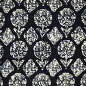 Black and White Sanganeri Block Print Cotton Fabric