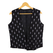 Black and White Sleeveless Ikat Cotton Koti Jacket-12217