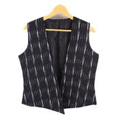 Black and White Sleeveless Ikat Cotton Koti Jacket-12236