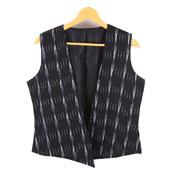 Black and White Sleeveless Ikat Cotton Koti Jacket-12236