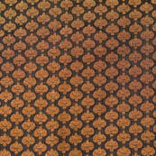 Black and small golden flower shape brocade silk fabric-4651
