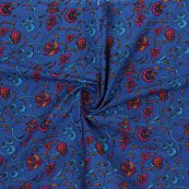 Blue Red Block Print Cotton Fabric-14885