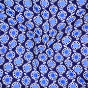 Blue Block Print Cotton Fabric-14605