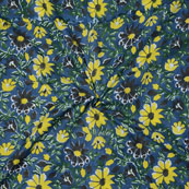 Blue Yellow Block Print Cotton Fabric-14732