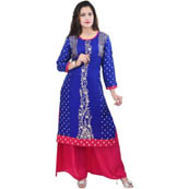 Blue 3/4 Sleeve Gold and Rubber Print Rayon Kurti-3080