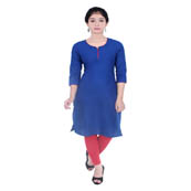 Blue 3/4 Sleeve Solid Cotton Kurti-3009