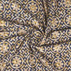 Blue Beige Block Print Cotton Fabric-16000
