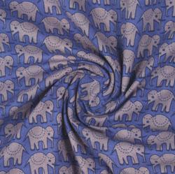 Blue Beige Block Print Cotton Fabric-16147