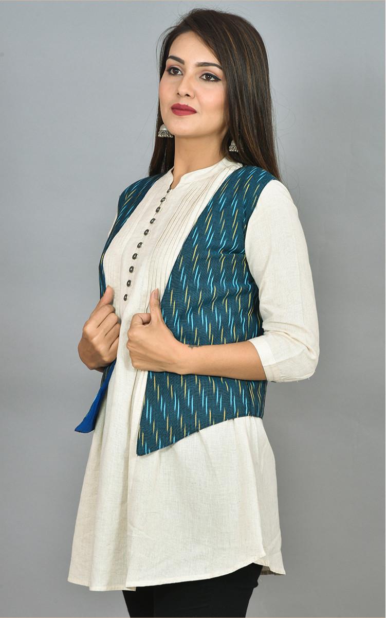 Blue Beige Ikat Cotton Koti Jacket-36268