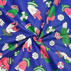Blue Beige and Green Hand-Mudra Cotton Kalamkari Fabric-28031