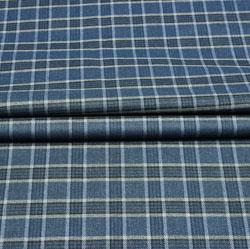 Blue Black Check Wool Fabric-90134