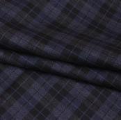Blue Black Checks Wool Fabric-90102