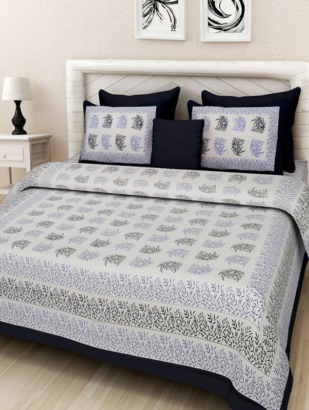 Blue Black Cotton Jaipuri Bedsheet-673