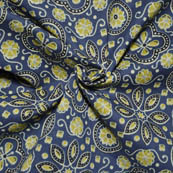 Blue-Black and Olive Green Floral Design Ajrakh Block Fabric-14010