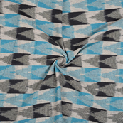 Blue-Black and White 3D Cotton Ikat Fabric-12124