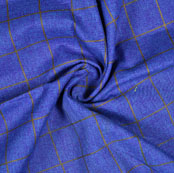 Blue Brown Check Handloom Cotton Fabric-40881