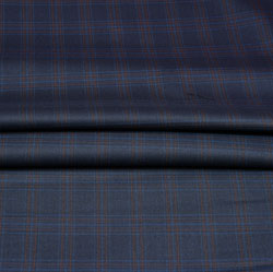 Blue Brown Checks Wool Fabric-90250