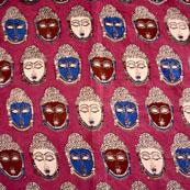 Blue-Brown and Pink Buddha Face Pattern Kalamkari Fabric-5469