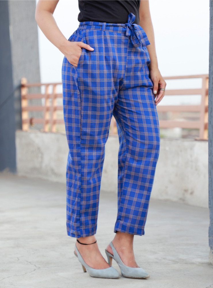 Blue Cotton Checks Women Pants with Loose Belt-33222