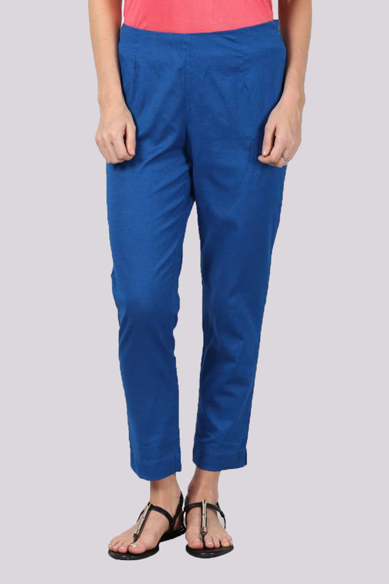 Blue Cotton Flex Pant with Side Chain and Pocket-33397