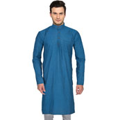 Blue Cotton Plain Handloom Long Kurta-33150