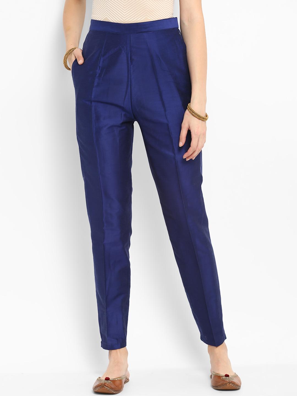 Blue Cotton Silk Ankle Pant-34274
