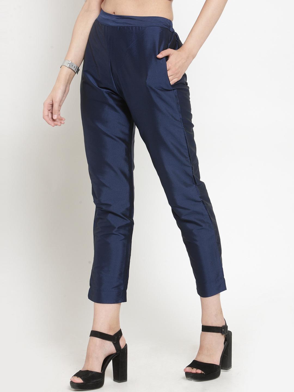 Blue Cotton Silk Ankle Pant-34277