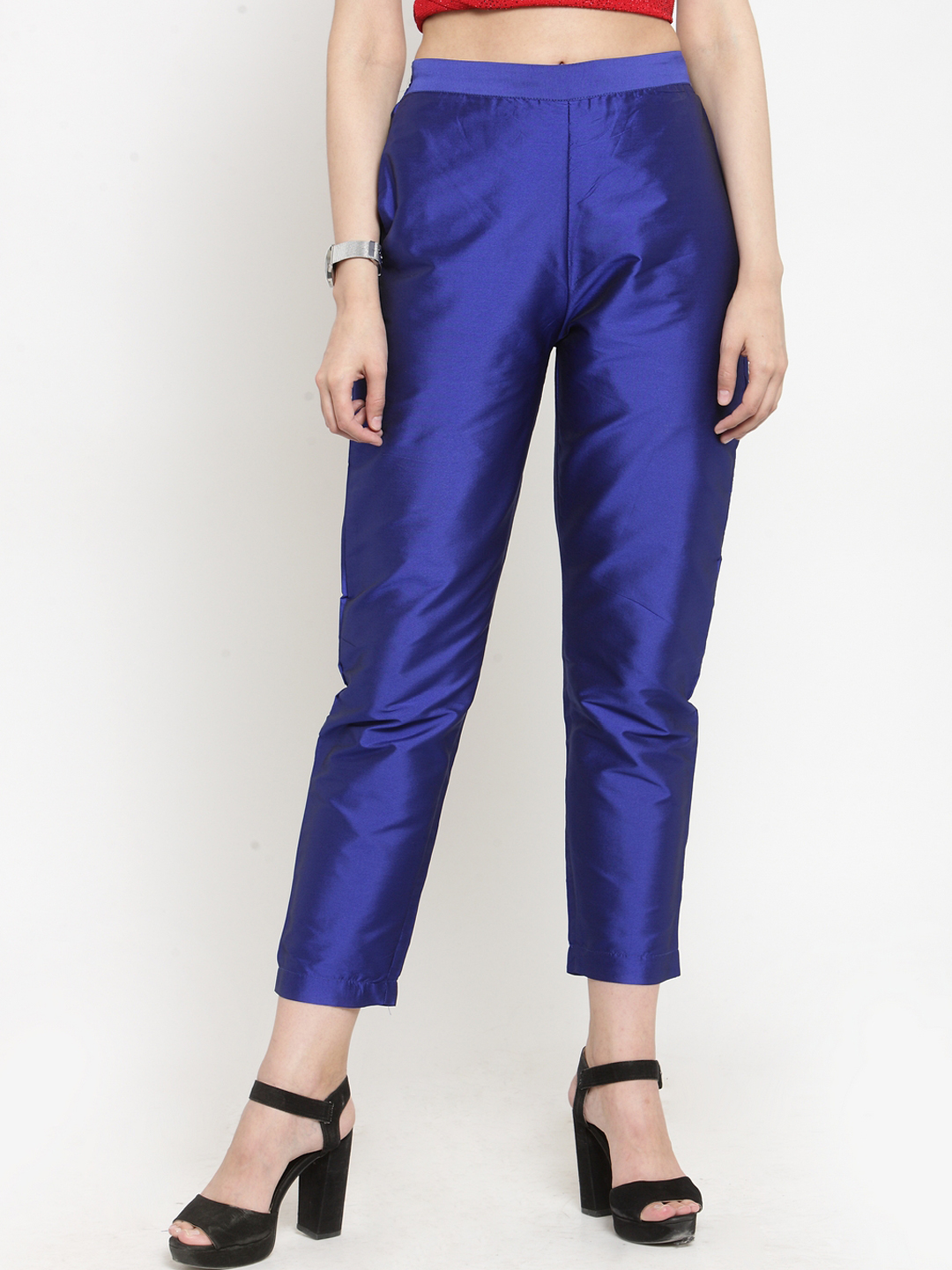 Blue Cotton Silk Ankle Pant-34280