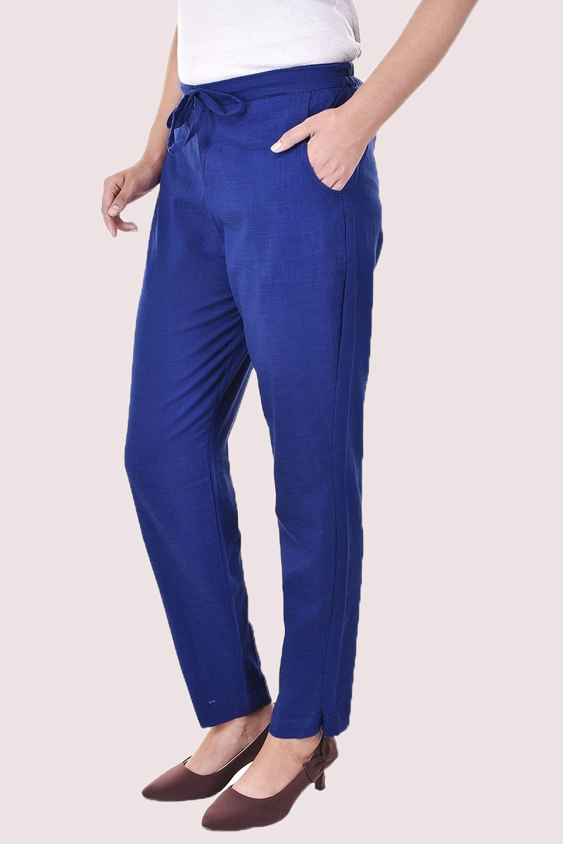 Blue Cotton Slub Solid Women Pant-33298