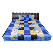 Blue-Cream and Black Floral Printed Cotton Double Bed Sheet-0G57