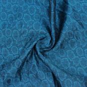 Blue Cyan Floral Jacquard Brocade Silk Fabric-9144
