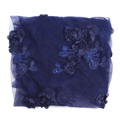 Blue Flower Net Embroidery Fabric-60862