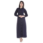 Blue Full Sleeve Cotton Long Kurti-3001