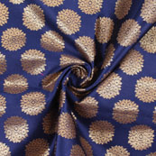 Blue Golden Brocade Silk Fabric-8981