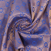 Blue Golden Brocade Silk Fabric-8996